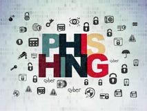 Concepto de la protección: Phishing en el papel de Digitaces Imagen de archivo