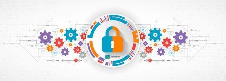 Concepto de la protección Proteja el mecanismo, privacidad del sistema Vector stock de ilustración