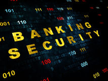 Concepto de la protección: Seguridad de las actividades bancarias en Digitaces Foto de archivo