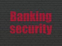 Concepto de la protección: Seguridad de las actividades bancarias en la pared Foto de archivo