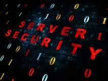 Concepto de la protección: Seguridad del servidor en Digitaces Fotografía de archivo