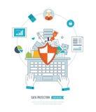 Concepto de la protección de datos Estrategia, gestión del proyecto y desarrollo de planificación, financieros Fotos de archivo