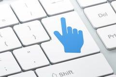 Concepto de la publicidad: Cursor del ratón en fondo del teclado de ordenador Imagen de archivo