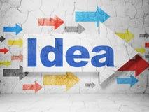 Concepto de la publicidad: flecha con idea en fondo de la pared del grunge stock de ilustración