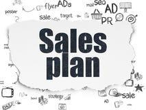 Concepto de la publicidad: Plan de las ventas en el papel rasgado Imagenes de archivo