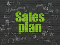 Concepto de la publicidad: Plan de las ventas en fondo de la pared Fotografía de archivo libre de regalías