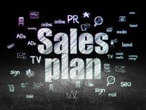 Concepto de la publicidad: Plan de las ventas en oscuridad del grunge Fotografía de archivo