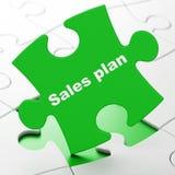 Concepto de la publicidad: Plan de las ventas en fondo del rompecabezas Fotografía de archivo libre de regalías