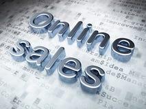 Concepto de la publicidad: Ventas en línea de plata en fondo digital Imágenes de archivo libres de regalías