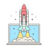 Concepto de la puesta en marcha del negocio del web Lanzamiento del transbordador espacial Nave espacial y ordenador portátil El  Imagenes de archivo
