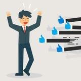 Concepto de la reacción: El hombre de negocios con muchos pulgares sube retroalimentación positiva libre illustration