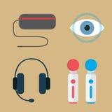 Concepto de la realidad virtual Vidrios, auriculares y reguladores Fotos de archivo