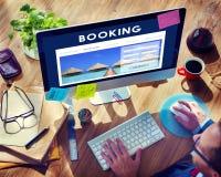 Concepto de la recepción del viaje de la reserva de reservación de hotel foto de archivo libre de regalías