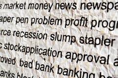 Concepto de la recesión Foto de archivo