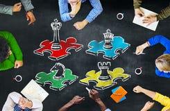 Concepto de la reconstrucción del entretenimiento del ocio de la estrategia del juego de ajedrez Imagen de archivo libre de regalías