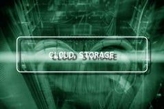 Concepto de la red del almacenamiento de Internet de la tecnología de Cloud Computing en sitio borroso del servidor del superorde fotos de archivo