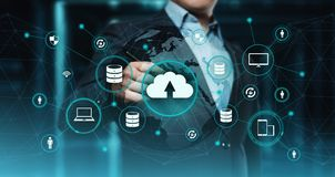 Concepto de la red del almacenamiento de Internet de la tecnología de ordenadores de la nube fotografía de archivo