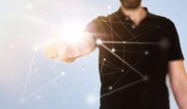 Concepto de la red en la pantalla táctil translúcida con nodo conmovedor del hombre de negocios con el finger extendido imágenes de archivo libres de regalías