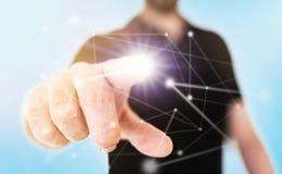 Concepto de la red en la pantalla táctil translúcida con nodo conmovedor del hombre de negocios con el finger extendido imagen de archivo libre de regalías