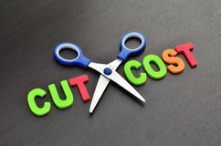 Concepto de la reducción de los costes Imagenes de archivo