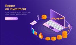 Concepto de la rentabilidad de la inversión (ROI), ordenador portátil isométrico con la moneda s stock de ilustración