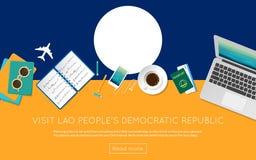 Concepto de la república Democratic del ` s de Lao People de la visita ilustración del vector
