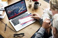 Concepto de la reservación del vuelo del billete de avión fotos de archivo libres de regalías