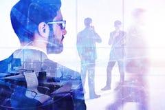 Concepto de la reunión, de la acción, del comercio, del trabajo en equipo y del interfaz Imagen de archivo