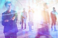 Concepto de la reunión, de la acción, del comercio, del trabajo en equipo y de las actividades bancarias Fotografía de archivo