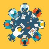 Concepto de la reunión de reflexión y del trabajo en equipo