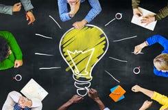 Concepto de la reunión del aprendizaje de inteligencia del conocimiento de los pensamientos de las ideas Foto de archivo libre de regalías