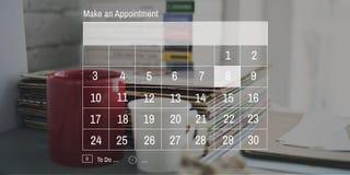 Concepto de la reunión del plazo de la cita del orden del día del calendario Fotografía de archivo