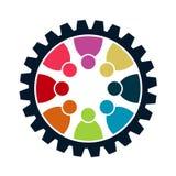Concepto de la reunión del trabajo en equipo del engranaje Ocho personas en el círculo trabajo del equipo del logotipo libre illustration