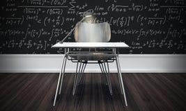 Concepto de la sala de clase con el piso de madera (3d rinden) Fotografía de archivo libre de regalías