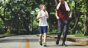 Concepto de la salud de Exercise Jogging Running del instructor imágenes de archivo libres de regalías