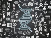 Concepto de la salud: DNA en fondo del consejo escolar ilustración del vector