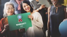 Concepto de la satisfacción de la garantía del control de calidad de la garantía Foto de archivo libre de regalías