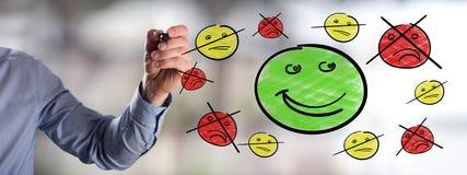 Concepto de la satisfacción del cliente dibujado por un hombre imagen de archivo