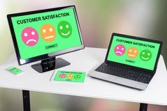 Concepto de la satisfacción del cliente en diversos dispositivos foto de archivo