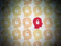Concepto de la seguridad: cabeza con el icono del candado encendido Imagen de archivo libre de regalías