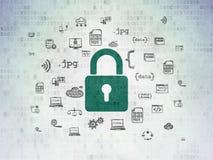 Concepto de la seguridad: Candado cerrado en el papel de Digitaces Imagen de archivo libre de regalías