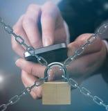 Concepto de la seguridad con el teléfono móvil Imágenes de archivo libres de regalías