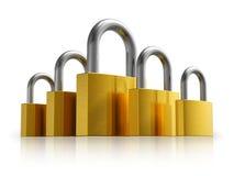 Concepto de la seguridad: conjunto de candados del metal Fotos de archivo libres de regalías