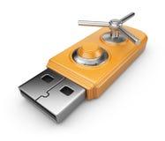 Concepto de la seguridad de datos. Mecanismo impulsor del flash del USB. Aislado Foto de archivo libre de regalías
