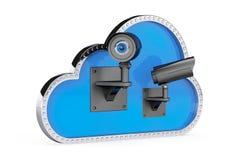 Concepto de la seguridad del Internet nube 3d con las cámaras de seguridad Foto de archivo