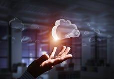 Concepto de la seguridad del ordenador y de Internet presentado por la nube del icono Técnicas mixtas foto de archivo