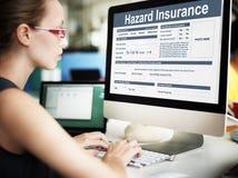 Concepto de la seguridad del riesgo del daño del daño del seguro del peligro foto de archivo libre de regalías