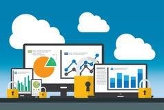 Concepto de la seguridad del sitio web y de datos de SEO