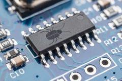 Concepto de la seguridad del software Errores en el programa Insectos en el programa La presencia de una puerta trasera, rootkit  imágenes de archivo libres de regalías