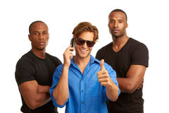 Concepto de la seguridad del teléfono celular con los escoltas imágenes de archivo libres de regalías